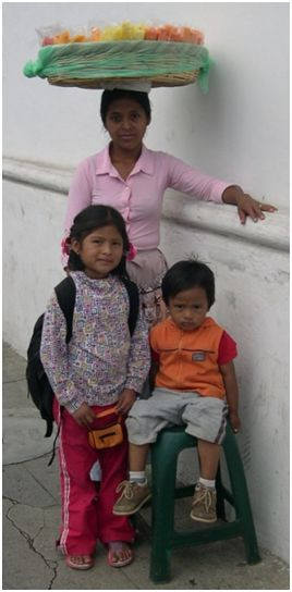 fruit seller and children in Guatemala